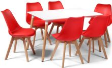 Toulouse Dining Set  - 120x80cms White Table & 6 Red Chairs